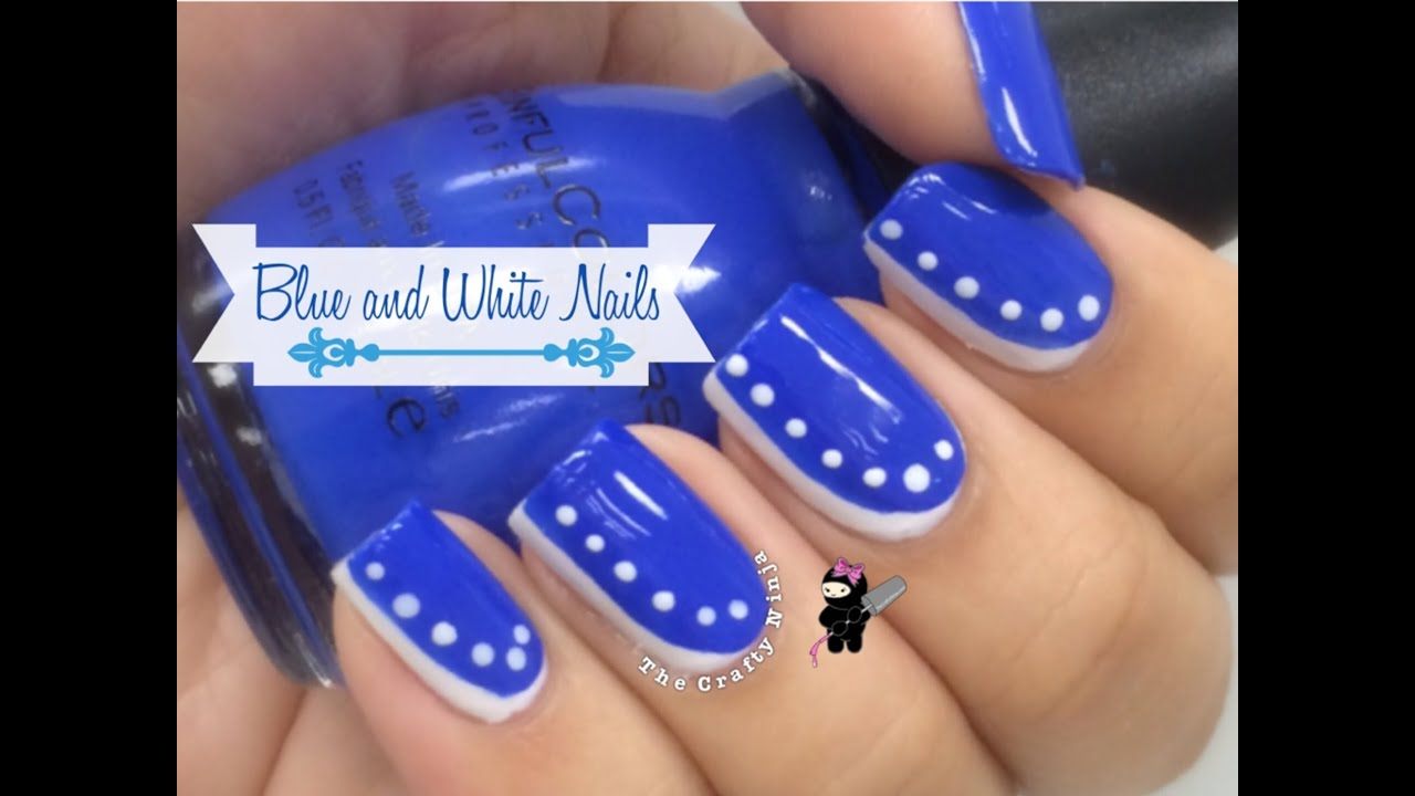 Easy Beginner Blue & White Nail Art by The Crafty Ninja - YouTube
