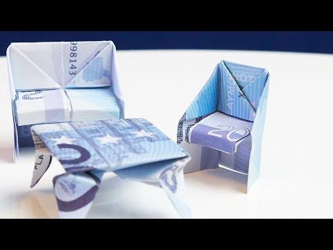 GESCHENK Zum Einzug, Stuhl Aus Geld Falten