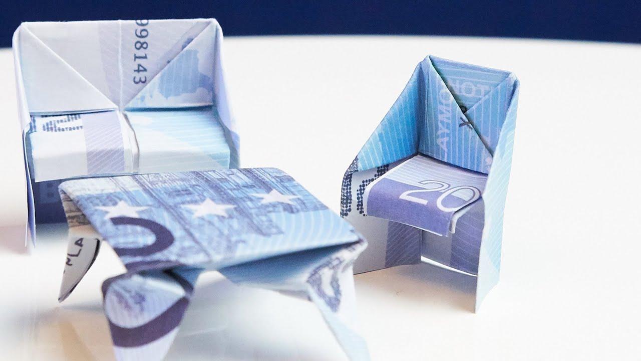Origami Möbel geschenk zum einzug stuhl aus geld falten