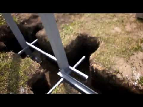 Установка столбов для ворот (как бетонировать)