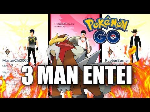 ENTEI RAID WITH 3 LEVEL 40'S! CAN WE DO IT? 3 MAN ENTEI RAID IN POKEMON GO! Pokemon Go Gen 2 EP46