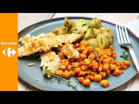 poulet-au-parmesan,-pommes-de-terre-à-l'estragon-et-carottes-glacées-au-four