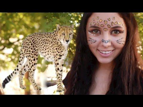 Halloween Cheetah Makeup & Hair! - YouTube