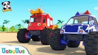 モンスタートラックレース | 海で遊ぶよ★水遊び | 赤ちゃんが喜ぶアニメ | 動画 | BabyBus thumbnail