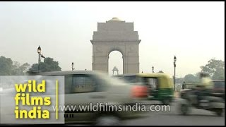 Vehicles and traffic at Rajpath in front of India Gate, Delhi