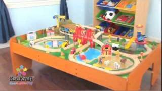 Kidkraft Ride Around Town Train Set With Table 17836 - Wooden Toy Train Set