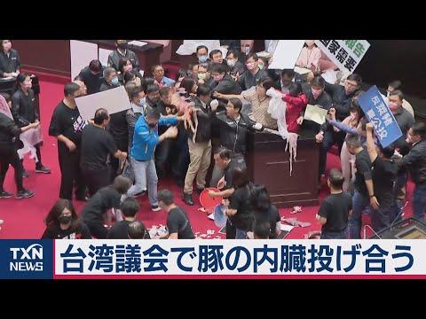 豚の内臓を投げ合い?!台湾議会大荒れ