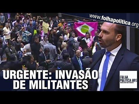 URGENTE: Militantes invadem a Câmara dos Deputados após discurso de Eduardo Bolsonaro e causam..