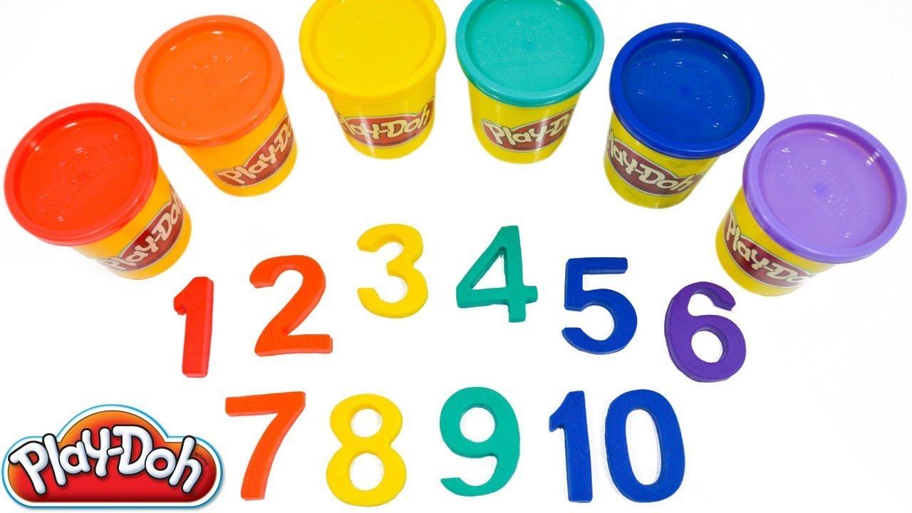 Lær tallene fra 1 til 10 på engelsk med plastin Play-Doh. Resultat fra 1 til 10 på engelsk.