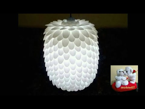 Diy 13 Chandelier Made Of Recycled Plastic Spoons Youtube