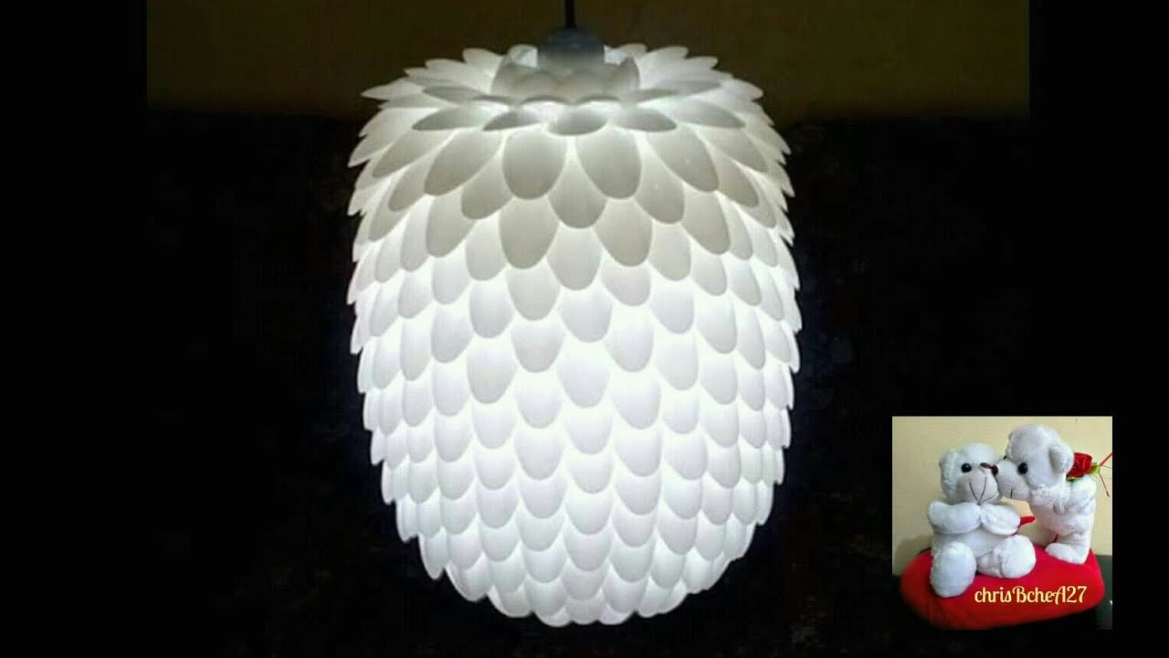 DIY#13 CHANDELIER MADE OF RECYCLED PLASTIC SPOONS - YouTube