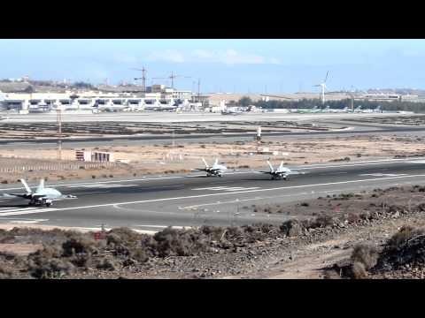 F18 Spain Air Force 4x takeoff at Gran Canaria Las Palmas Airport