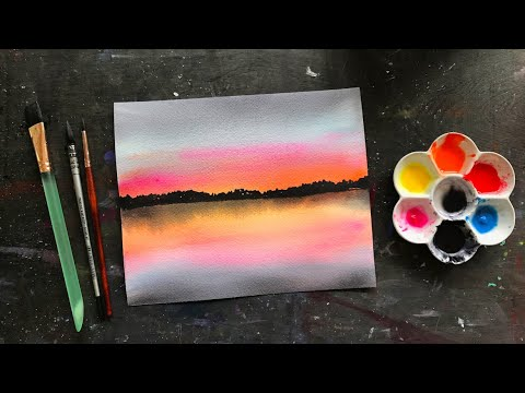 Simple Watercolor Sunset for Beginners / Live Painting Tutorial / Michigan Lake Landscape Scene