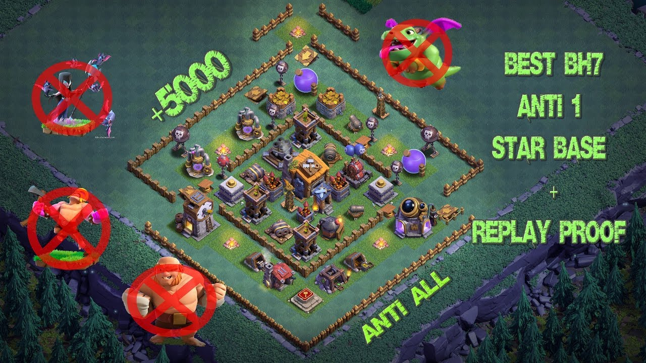 Best Builder Hall 7 Base W Proof Anti 1 Star 5000 Cups Bh7 Giant Cannon Clash Of Clans Youtube