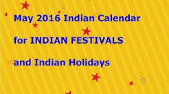 ***{May 2016} Indian Calendar for INDIAN FESTIVALS and {Indian Holidays}