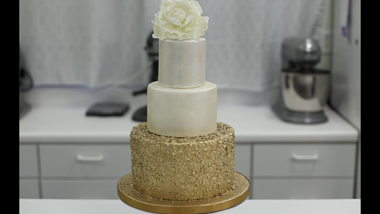 Gold Sequin Cake Decoration : How To Decorate A Cake With Gold Sequins - YouTube