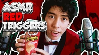 [ASMR] Ultra RELAXING Red Triggers (Eating, Tapping & Scratching)