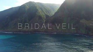 Madeira Waterfall - Véu da Noiva (Bridal Veil) in Seixal - Porto Moniz - Drone View