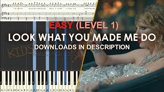How to play Look What You Just Made Me Do by Taylor Swift easy LEVEL 1 cover tutorial for kids