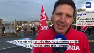 La grève des maçons bloque le pont du Mont-Blanc