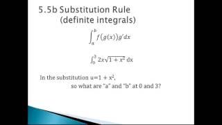 5.5b Substitution Rule (definite integrals)