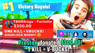 DONATING $$$ TO 13 YEAR OLD FORTNITE STREAMER!