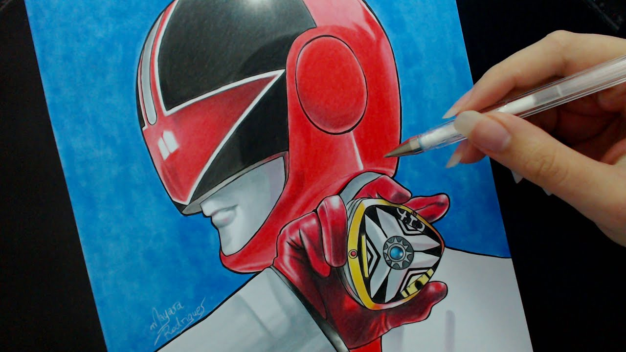 Speed Drawing  Red Ranger Power Rangers Time Force  YouTube