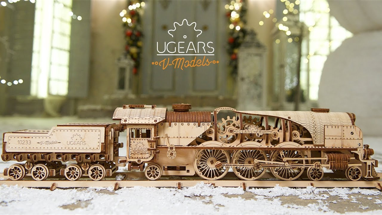 Ugears V-Express Steam Train with Tender. Gift that matters - YouTube
