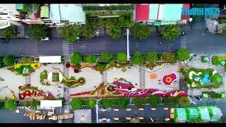Ngắm đường hoa Nguyễn Huệ 2018 từ góc máy flycam