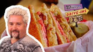 Guy Fieri Tries a CRAB CAKE Grilled Cheese | Diners, Drive-ins and Dives