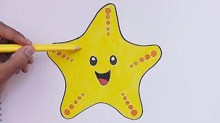 Como dibujar y pinar a Estrella de Mar - How to Draw and pine Estrella de Mar