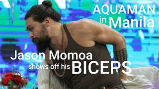 Aquaman star Jason Momoa takes off his jacket at the Asian premiere presscon of the film in Manila
