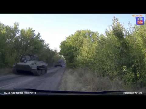 Колона техники ополченцев под Луганском 03.09.2014.