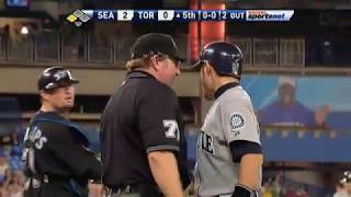 2009年9月26日,水手隊與藍鳥隊的比賽。 主審:好球帶是不容質疑的,朗...
