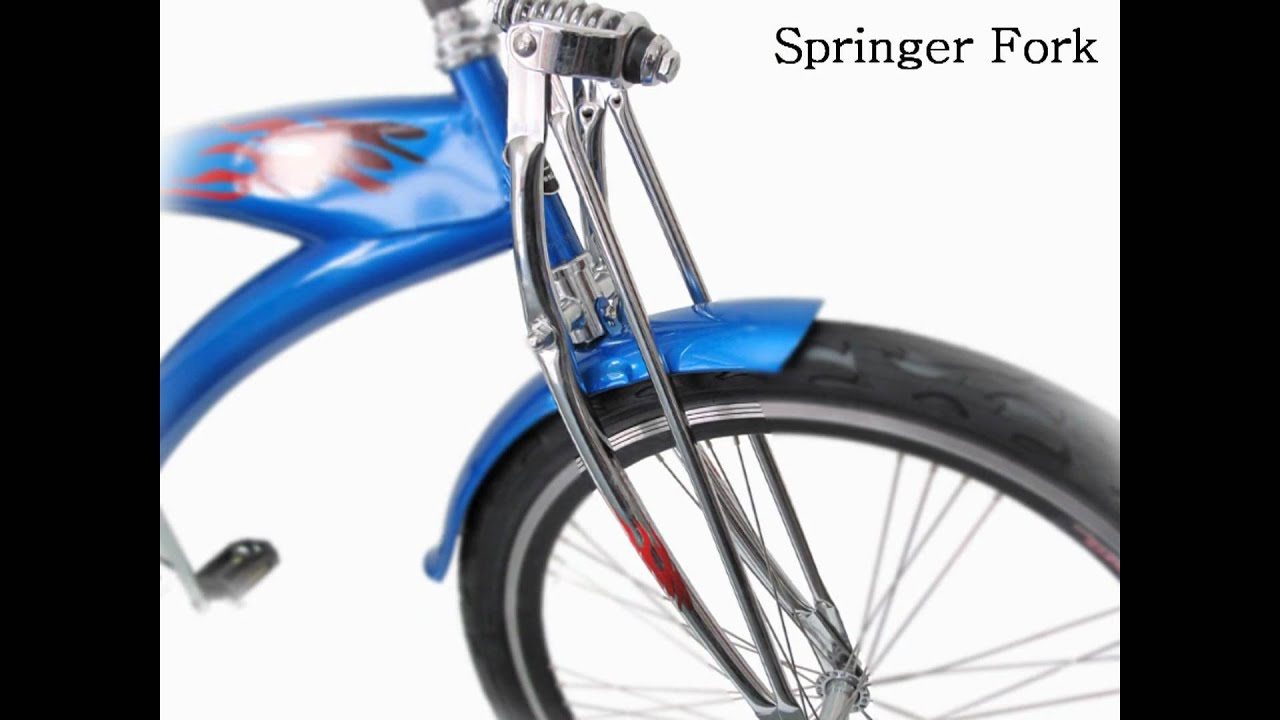 26 blue stretch bike with springer fork double wall tires by greenline bicycles