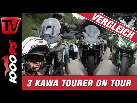 3 Motorräder auf Tour im Vergleich - Kawasaki Ninja H2 SX SE+, Versys 1000 und Z1000SX