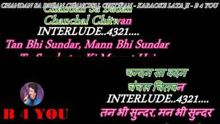 Chandan Sa Badan ( LATA JI ) - Karaoke With Scrolling Lyrics Eng. & हिंदी