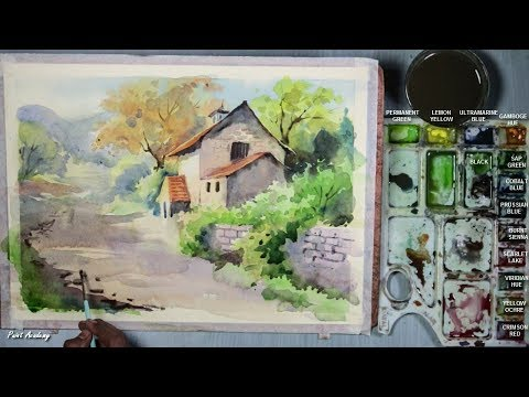 Watercolor House Landscape Painting step by step