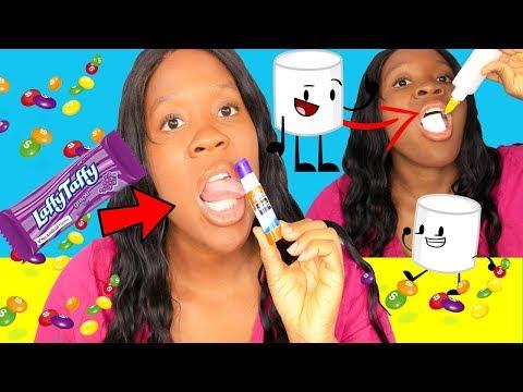 FIVE Easy Edible Glue Hacks ( HOW TO SNEAK FOOD Into Class) Edible Snacks