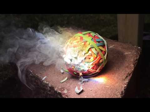 Melting A Rubber Band Ball With Fresnel Lens Solar Power