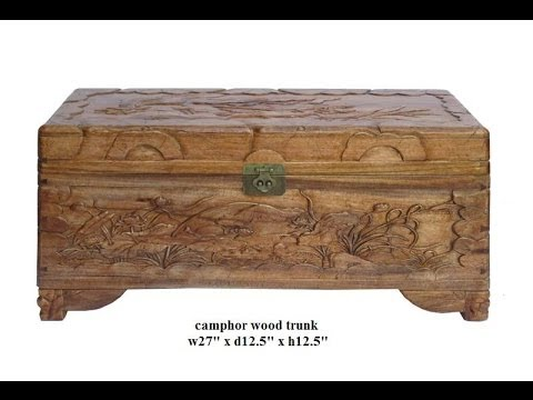Chinese Camphor Wood Lotus Carving Storage Accent Trunk Cs427