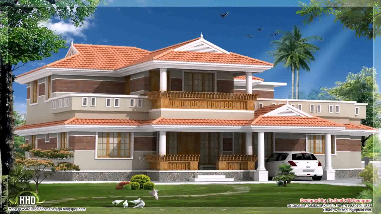 South indian style house home 3d exterior design youtube for Indian house exterior design