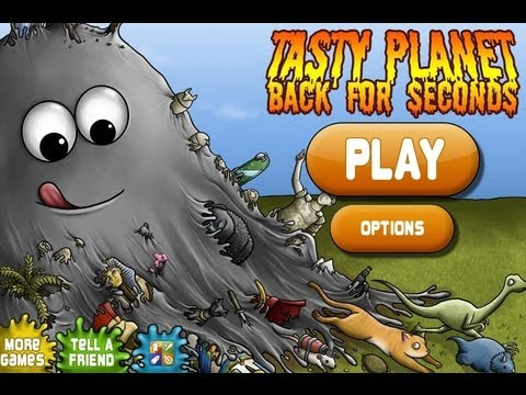 Tasty Planet - iPhone - HD Gameplay Trailer: Tasty Planet by Dingo Games Inc.  Eat Everything in the World!  Munch your way through 60 levels and over 140 objects.  Control a tiny ball of grey goo with the ability to eat anything smaller than itself. The more it eats, the bigger it gets! Soon you'll be able to eat the entire planet!  The grey goo was originally created as a bathroom cleaner. It was only supposed to eat dirt and bacteria - cleaning your bathroom automatically. Instead it eats anything that it touches: dirt, bacteria, bugs, fish, mice, cats, dogs, cars, trees, houses, planets, galaxies... Everything!  Supports all iPhone and iPod Touch models. Tested on iOS 3 and iOS 4. Supports the Retina Display.  iTunes Store Page:  http://itunes.apple.com/us/app/tasty-planet/id415069562  Homepage:  http://www.dingogames.com/ios/tasty-planet/