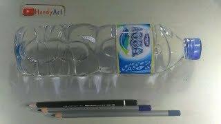 menggambar AQUA 3D dengan TANGAN KIRI menggunakan pensil warna