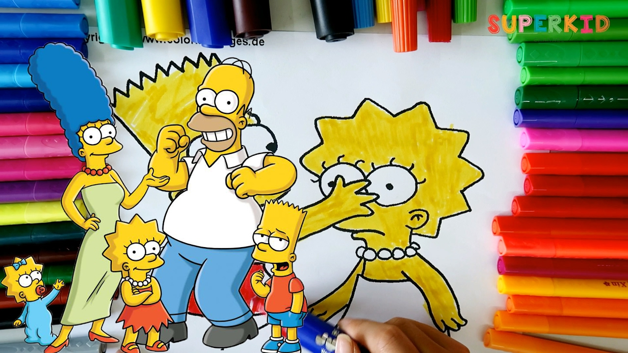 Simpsons coloring games online - The Simpsons Family Coloring Pages Learning Colors For Kids And Preschoolers
