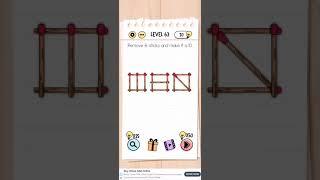 Brain Test Level 63 Remove The Six Sticks And Make It Ten Walkthrough Youtube