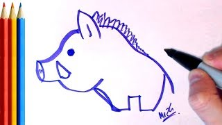 2Min Drawing - Pig / Boar - Easy Step by Step