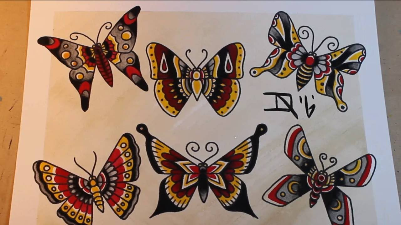 traditional butterflies tattoo flash painting youtube