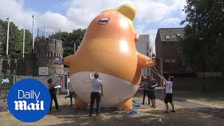 'Trump baby' is inflated ahead of US president's UK visit - Daily Mail