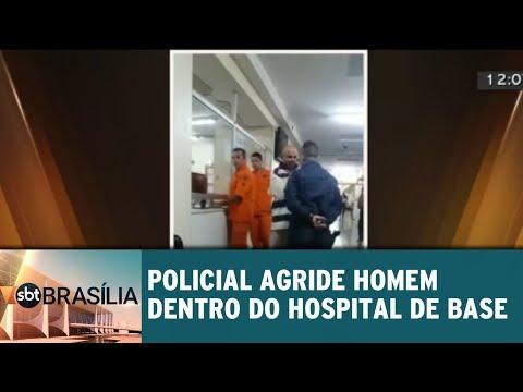 Policial agride homem dentro do Hospital de Base   SBT Brasília 09/07/2018